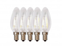 5er-Set FILAMENT-LED Kerze matt E14, 2 Watt, 190 Lumen, 2700 Kelvin