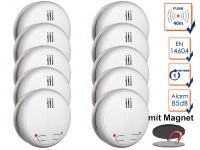 10er SET Funkrauchmelder 40m Reichweite bis 20 Melder koppelbar + Magnethalter