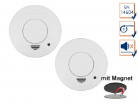 2er-Set Rauchmelder mit 1 Jahres Batterie - Stummschaltfunktion + Magnethalter