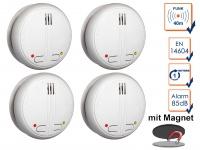 4er SET Funkrauchmelder 40m Reichweite bis 20 Melder koppelbar + Magnethalter