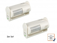 2er Set Bewegungsmelder mit Alarm, 8m/60°, weiß, Bewegungssensor PIR Sensor