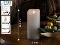 LED Echtwachskerze 3D Flamme & Timer Batteriebetrieb H. 17, 5 cm Stimmungslicht