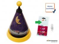 Nachttischleuchte mit 3er Set Leuchtmittel Carrousel projiziert Mond und Sterne