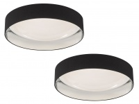 Dimmbares LED Sternenhimmel Deckenlampenset je 80cm, Textilschirm schwarz silber