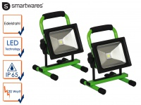 2er Set 20 Watt LED Baustrahler tragbar mit Akku IP65 Fluter Arbeitsscheinwerfer