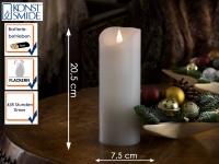 LED Echtwachskerze 3D Flamme & Timer Batteriebetrieb H. 20, 5 cm Stimmungslicht