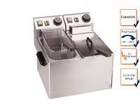 Gastro Doppel Fritteuse 2 x 5 Liter, Elektro Edelstahl Profi Industrie Fritteuse