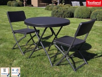 Wetterfeste Sitzgarnitur Kunststoff & Stahl Klapp Tisch rund & Stühle Garten