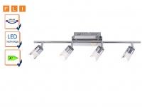 4-fl. Deckenleuchte LED / Spotschiene, Chrom / Acrylglas, FLI-Leuchten