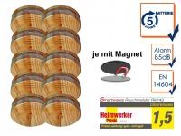 10er SET Rauchmelder Holzoptik 5 Jahres Batterie & Magnetbefestigung, Feueralarm