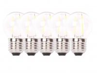 5er-Set FILAMENT-LED Globe E27, 2 Watt, 200 Lumen, 2700 Kelvin, warmw.