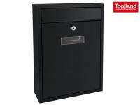 Schwarzer Briefkasten 2 Schlüsseln Design Postkasten Wandbriefkasten 26x8x36 cm