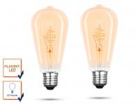2x FILAMENT LED Leuchtmittel ST64 mit 3 Watt, 150 Lumen, 2000 Kelvin, E27-Sockel