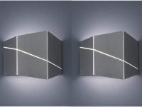 2er Set Wandlampen eckig in Nickel matt 18 x 14, 5 x 6, 5cm, modernes Flurlicht