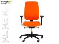 Drehstuhl orange mit Sitztiefenverstellung, 2D-Armlehne, Bürostuhl Drehsessel
