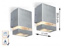 2 Edelstahl LED Außenwandleuchten eckig H.15, 8cm Fassadenbeleuchtung Wandlampe