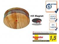 Rauchmelder Holzoptik mit 5 Jahres Batterie & EASY Magnetbefestigung, Feueralarm