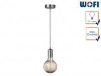 Vintage Schnurpendel Nickel matt / Grau mit E27 Filament LED, Hängelampe Retro