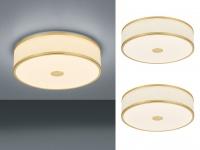2 LED Deckenleuchten Ø40cm mit weißem Stoffschirm Messing matt mit SWITCH DIMMER
