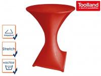 STEHTISCH klappbar Ø 80cm weiß mit roter Stretch-Husse, Partytisch Bistrotisch