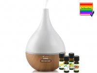 Duftzerstäuber / Duftlampe mit 7fach LED-Farbwechsel, inkl. 4er-Duftöl-Set