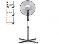 Standventilator schwarz 120 cm Ø 40 cm, Standlüfter Ventilator Windmaschine