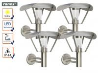 4er-Set Solar LED Außenwandleuchten Wandleuchte Dämmerungssensor Wandstrahler