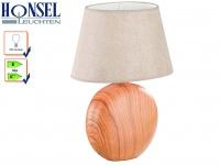 Tischleuchte HILL RUND, Schirm beige oval Höhe 48 cm, Wohnzimmerlampe Honsel