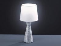 Design LED Tischleuchte aus Marmor mit Stofflampenschirm in weiß Wohnzimmerlampe