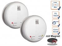 2er SET Funkrauchmelder 40m Reichweite bis 20 Melder koppelbar + Magnethalter