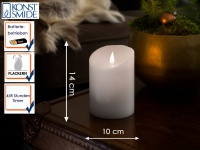 LED Echtwachskerze 3D Flamme & Timer Batteriebetrieb H. 14 cm Stimmungslicht