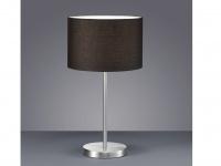Tischleuchte, E27, Höhe 55cm, Ø 30cm Nickel matt Stoffschirm schwarz