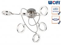 LED Deckenleuchte 6 schwenkbare Spots Nickel matt Desgin Deckenlampe Wohnzimmer
