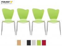 4er Design Stuhl HEART grün Stapelstuhl Esszimmerstuhl Bistrostuhl Schalenstuhl
