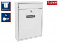 Weißer Briefkasten 2 Schlüsseln Design Postkasten Wandbriefkasten 26x8x36 cm