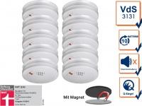 10er Set Rauchmelder 10 Jahre Batterie + Magnethalterung mit VdS & Q-Siegel