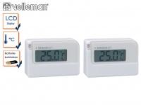 2er Set Mini Digitalthermometer mit Klebestreifen, Raumthermometer innen außen