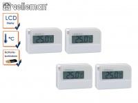 4er Set Mini Digitalthermometer mit Klebestreifen, Raumthermometer innen außen