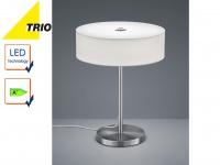 Trio LED Design Tischleuchte LUGANO Stoffschirm weiß 30cm, Lampe Flur Wohnraum
