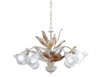 Kronleuchter, weiß/goldfarbig, Glas weiß, Honsel-Leuchten, VALENCIA