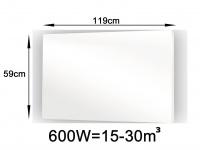 600W Glasheizpaneel, Infrarotheizung weiß, Glaspaneel ohne Rahmen, Vitalheizung