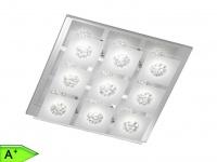 9-fl. LED-Deckenleuchte, Chrom / Glas, 40x40 cm, Wofi-Leuchten