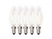 5-er Set FILAMENT-LED Kerze E14, 2 Watt, 200 Lumen, 2700 Kelvin