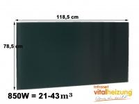 600W Glasheizpaneel, Infrarotheizung schwarz, Glaspaneel rahmenlos, Vitalheizung