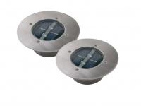 2er Set Solar Einbaustrahler Außen rund mit Tag/Nacht Sensor Bodeneinbauleuchten
