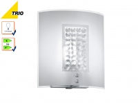 Wandleuchte Wandlampe CORMINT Chrom Glas weiß Kristall 20 x 22 cm