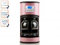 Kaffeemaschine Rosa 1, 5l 950W Timer Edelstahl LCD-Display Filterkaffeemaschine