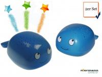 2er SET LED Nachtlichter WAL als Sternprojektor, LED-Farbwechsler bunte Sterne