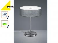 Trio LED Design Tischleuchte LUGANO Stoffschirm grau 30cm, Lampe Flur Wohnraum