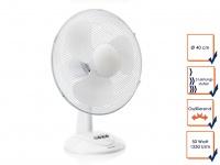 Weißer Tischventilator 3 Stufen Ø 40cm oszillierend Luftkühler leise Lüfter